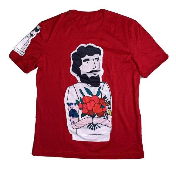 Dolce & Gabbana Red Collector Tee Mustache Man Top